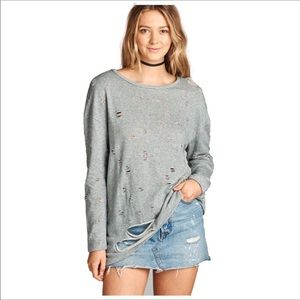 Distressed French Terry Long Sleeve Shirt